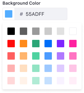 Color picker open at predefined panel
