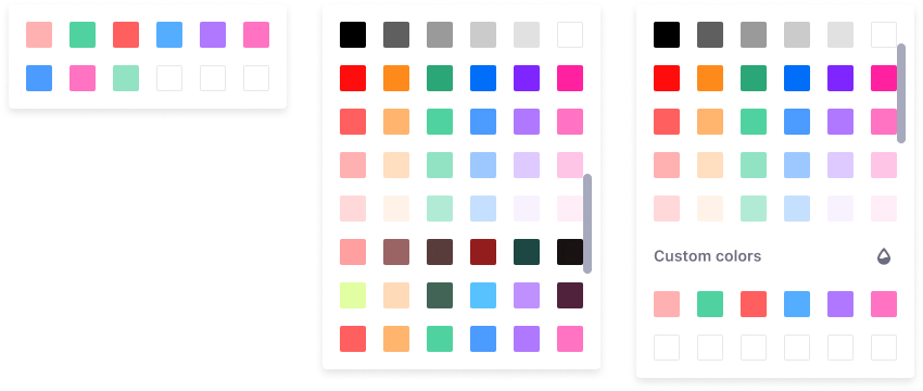 3 predefined color picker palette panels with different lengths