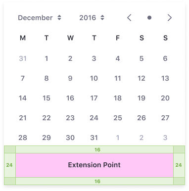 Date picker extension point area right at the end of the panel